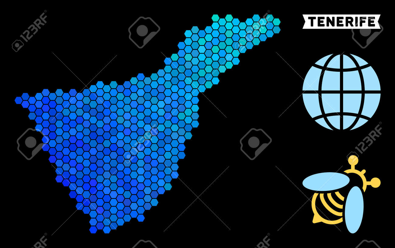 Map Of Spain Tenerife.Hexagon Blue Tenerife Spain Island Map Geographic Map In Blue