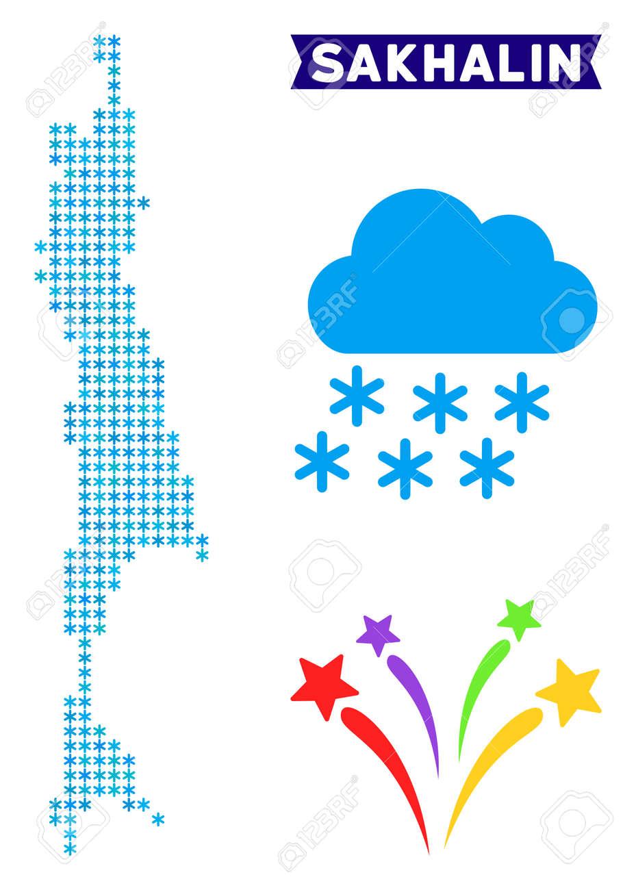 Winter Sakhalin Island map. Vector geographic scheme in blue..