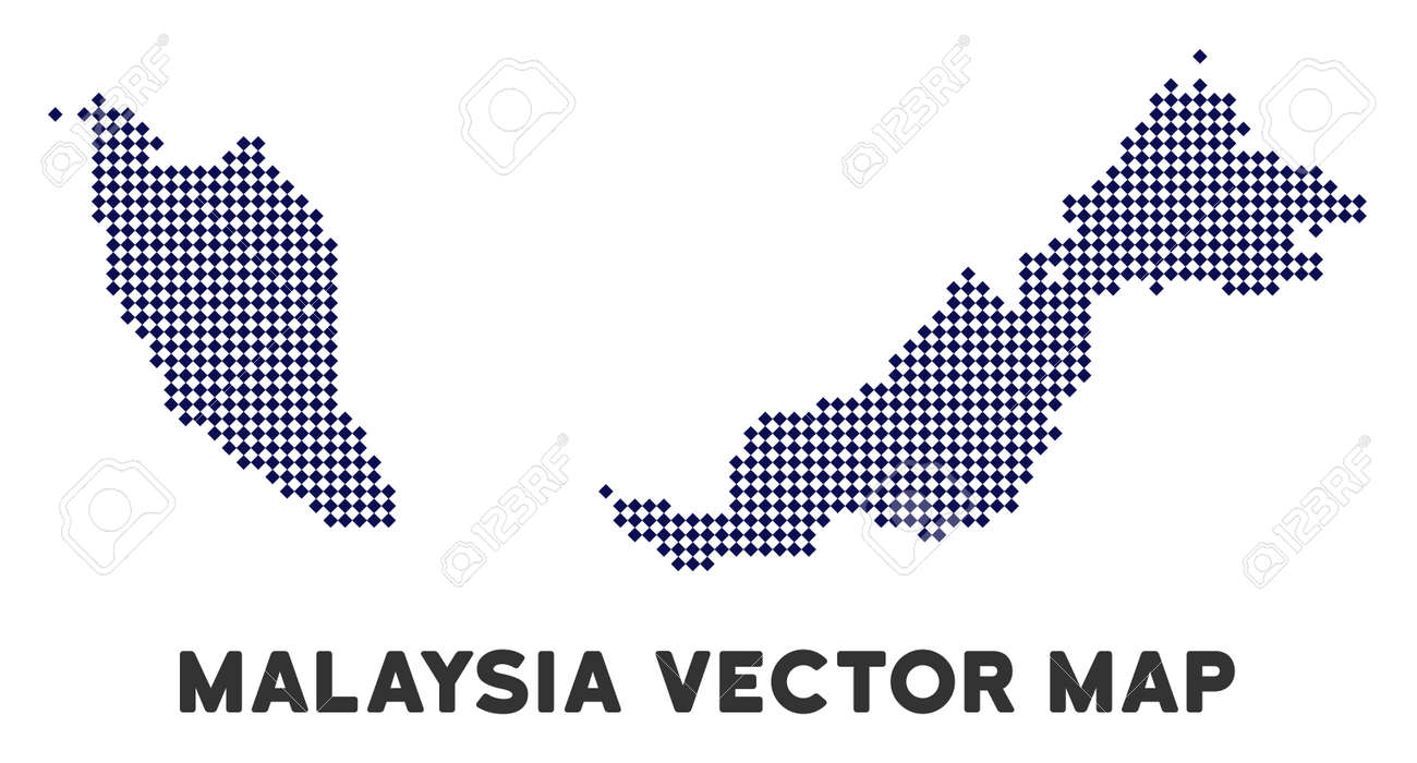 Dotted Malaysia Map. Abstract Geographic Plan. Pixels Have Rhombus ...