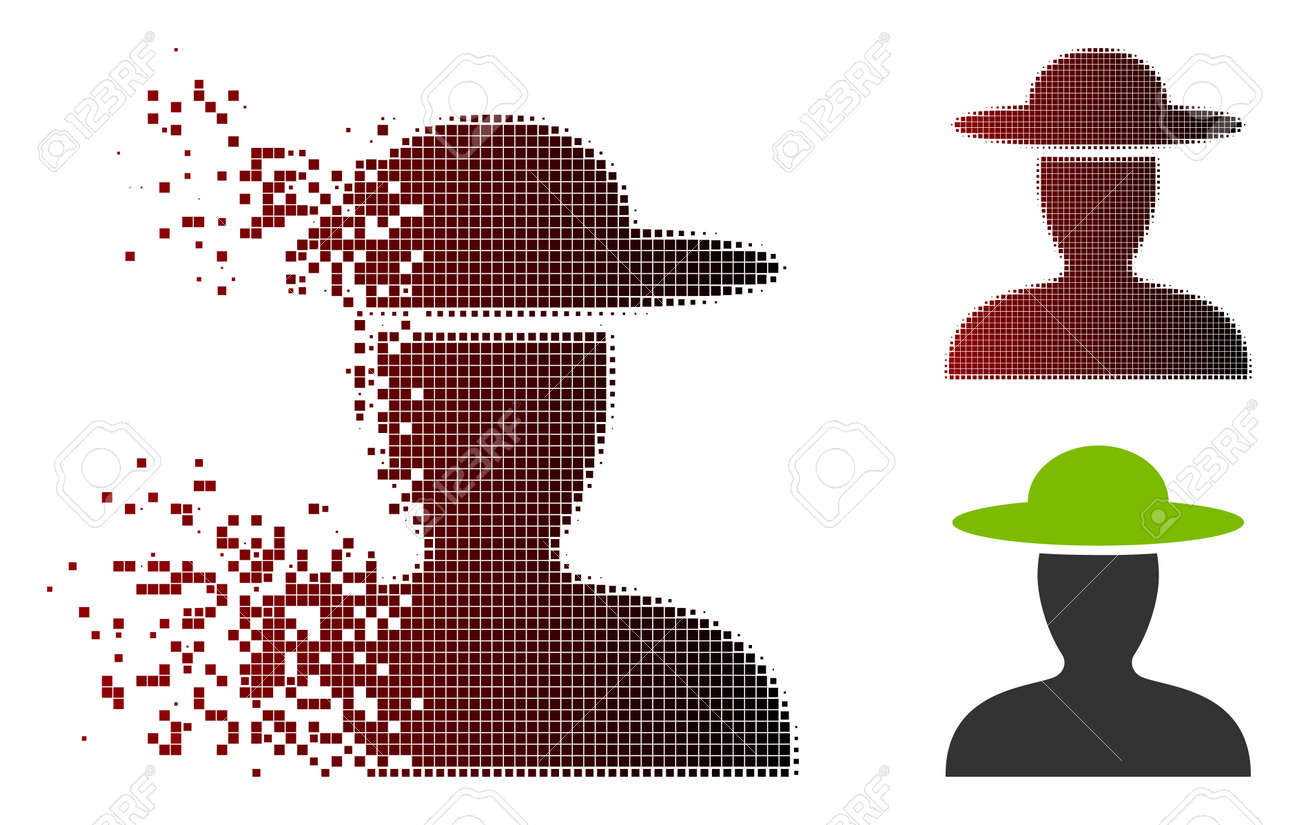 Vector farmer person icon in sparkle, pixelated halftone and undamaged whole versions. Disappearing effect involves square particles and horizontal gradient from red to black. - 105860314