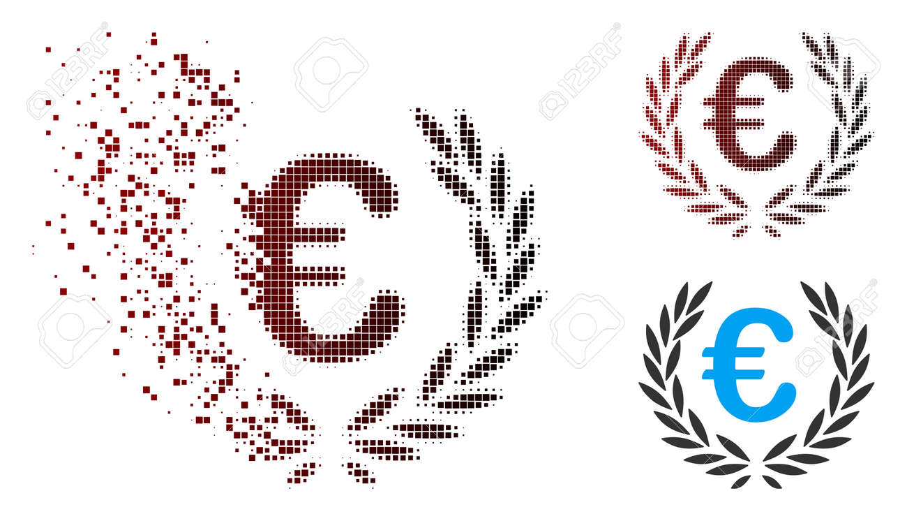 Vector Euro laurel wreath icon in sparkle, dotted halftone and undamaged entire variants. Disintegration effect uses rectangle particles and horizontal gradient from red to black. - 106030570