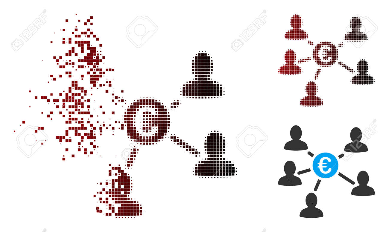 Vector Euro social links icon in sparkle, pixelated halftone and undamaged whole versions. Disappearing effect uses square sparks and horizontal gradient from red to black. - 106037456