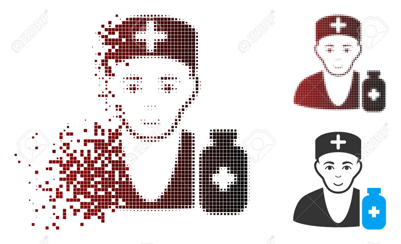 Vector apothecary doctor icon in sparkle, dotted halftone and undamaged whole versions. Disappearing effect uses rectangle particles and horizontal gradient from red to black. - 106102592