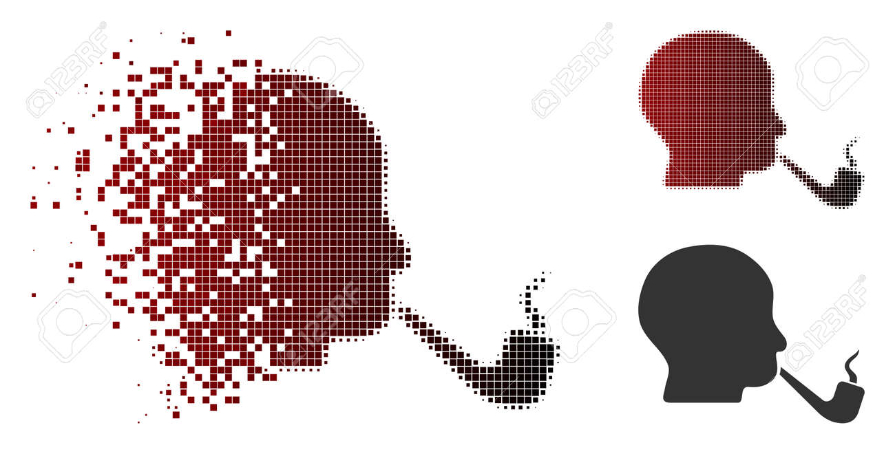 Smoking detective icon in sparkle, pixelated halftone and undamaged solid versions. Elements are composed into vector sparkle smoking detective symbol. - 107829621