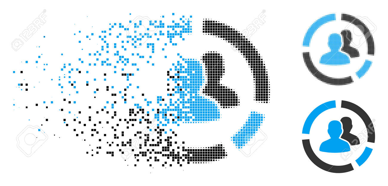 Demography diagram icon in dispersed, dotted halftone and whole versions. Particles are combined into vector dissolving demography diagram figure. Disintegration effect uses rectangular scintillas. - 109997165