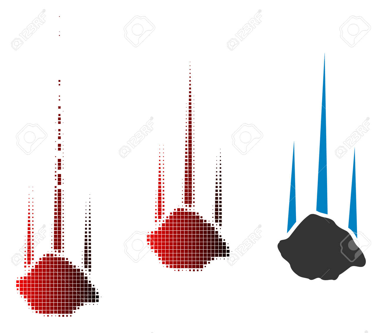 Falling stone icon in dispersed, pixelated halftone and undamaged whole variants. Elements are arranged into vector dispersed falling stone shape. - 109356160