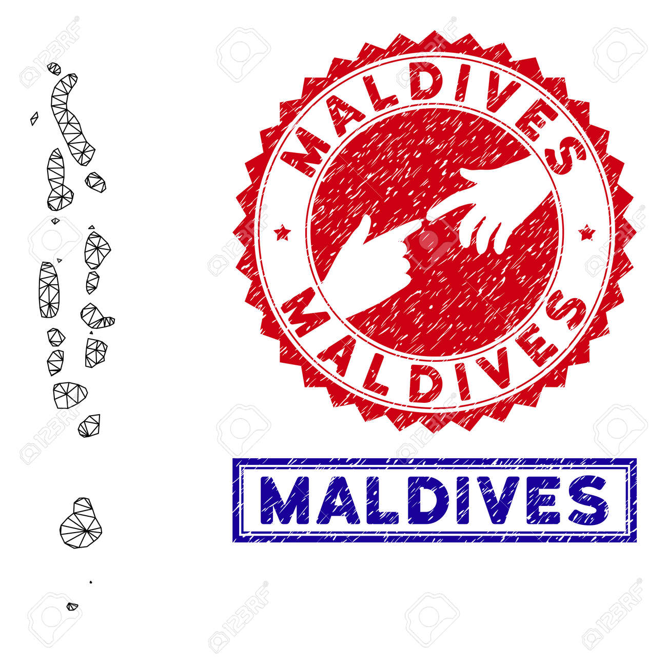 2D polygonal Maldives map and grunge seal stamps. Abstract lines..