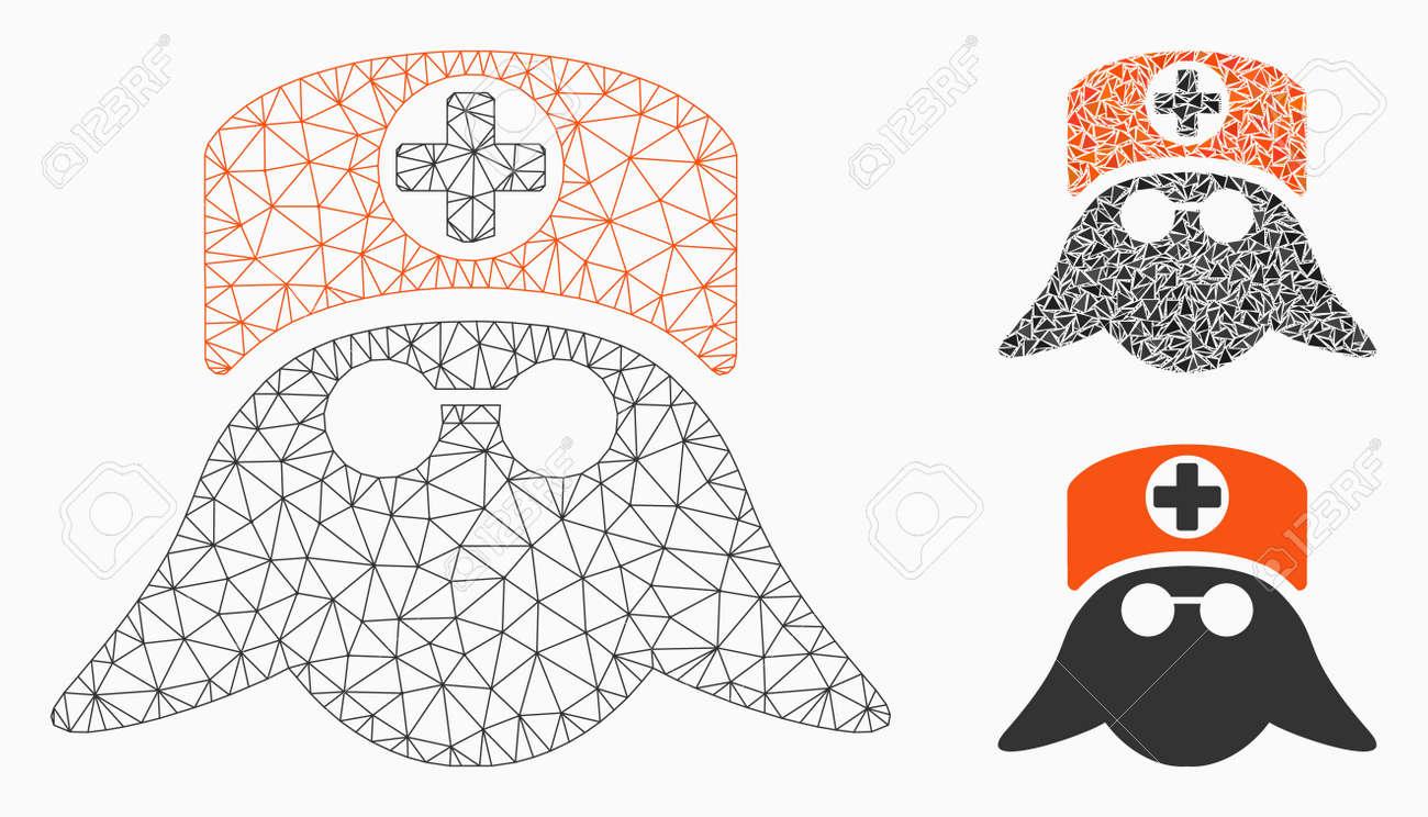 Mesh nurse head model with triangle mosaic icon  Wire frame polygonal