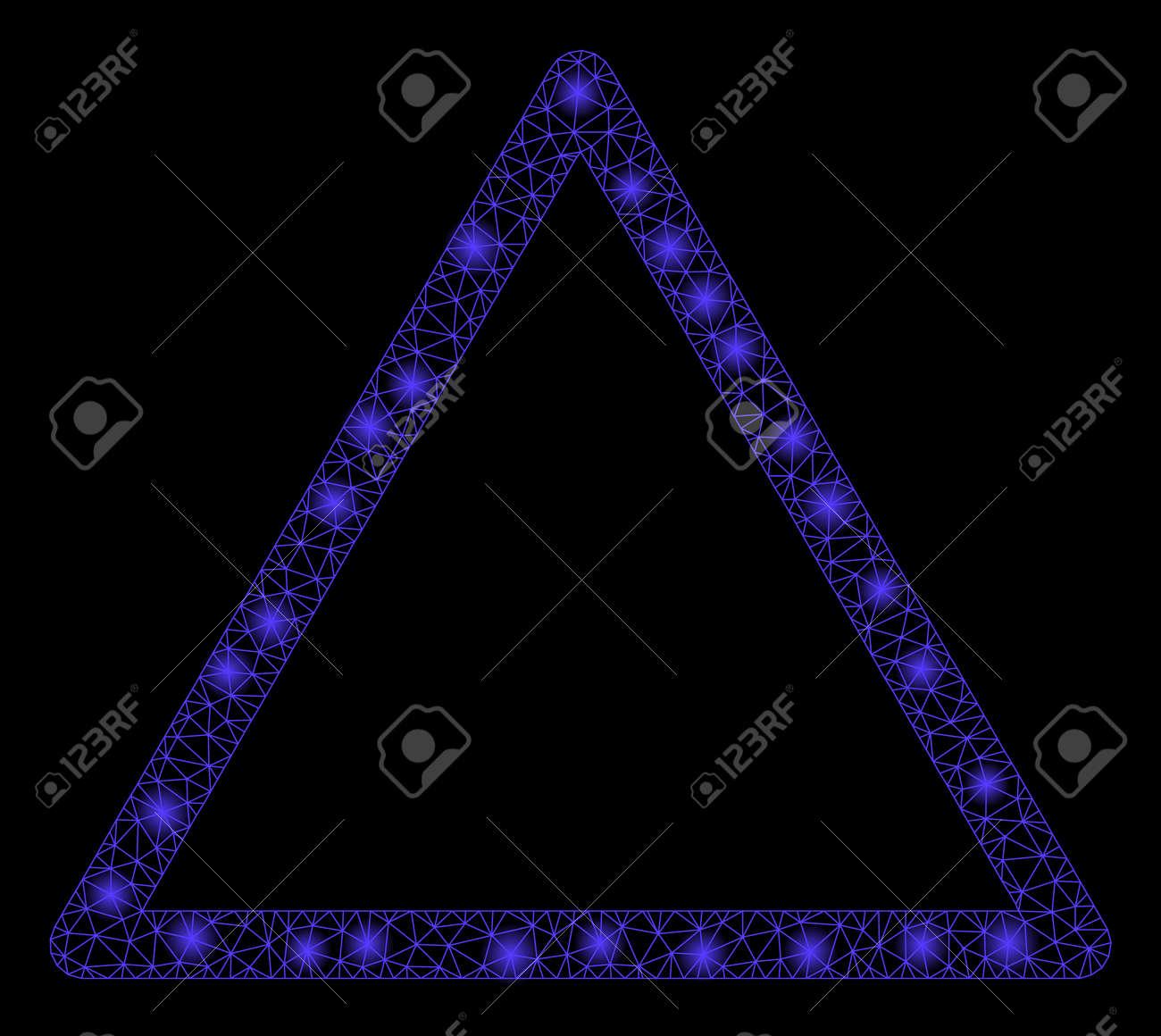 hieno muotoilu erotuskengät hyvä rakenne Glowing mesh rounded triangle frame with glare effect. Abstract..
