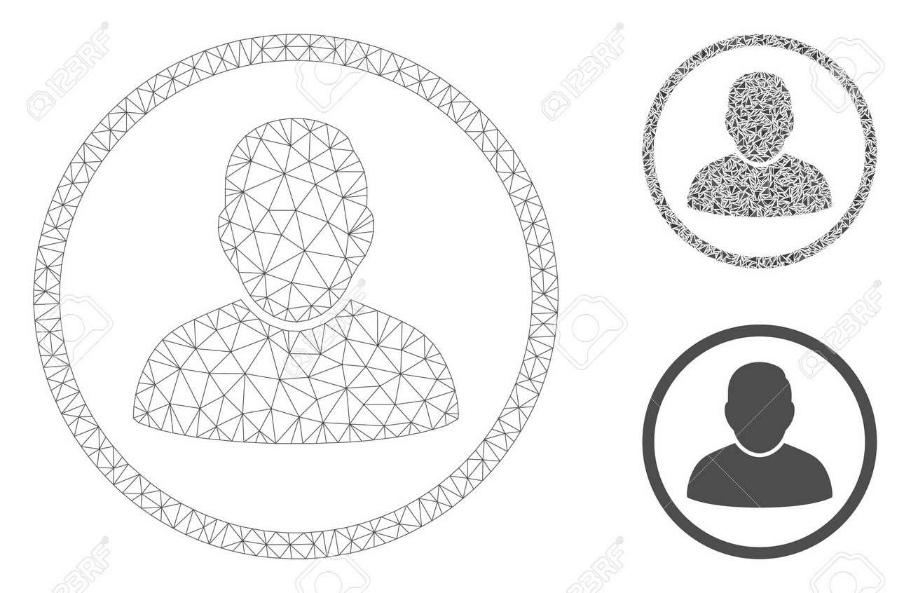 uudet alhaisemmat hinnat paras valinta koko perheelle Mesh rounded user model with triangle mosaic icon. Wire carcass..