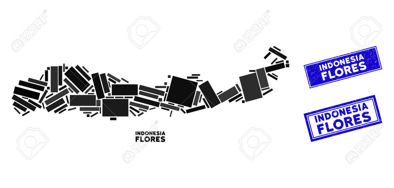 mosaic flores island of indonesia map and rectangle seal stamps royalty free cliparts vectors and stock illustration image 133432591 123rf com