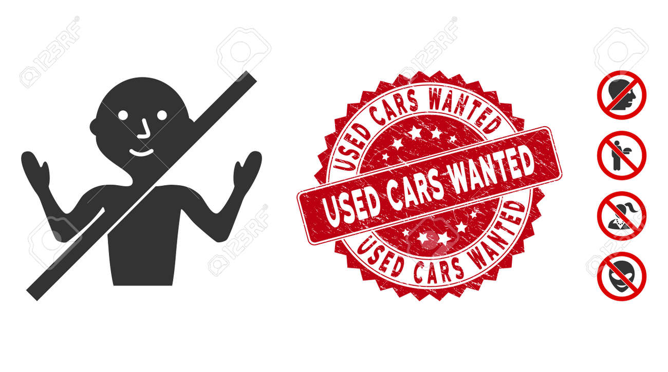 Vector no guru icon and distressed round stamp seal with Used Cars Wanted phrase. Flat no guru icon is isolated on a white background. Used Cars Wanted stamp seal uses red color and grunged surface. - 135417081