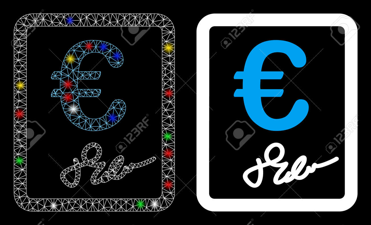 Glossy mesh Euro signed contract icon with glow effect. Abstract illuminated model of Euro signed contract. Shiny wire carcass triangular mesh Euro signed contract icon. - 136434596