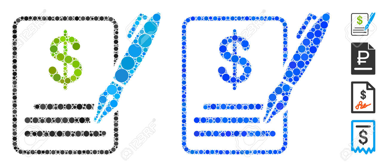 Contract composition of small circles in various sizes and color tones, based on contract icon. Vector small circles are composed into blue composition. - 137153864