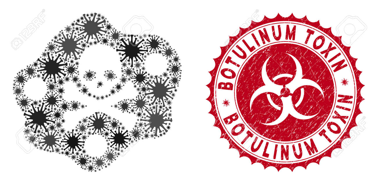 Coronavirus mosaic botulinum toxin icon and round distressed stamp seal with Botulinum Toxin phrase. Mosaic vector is formed with botulinum toxin icon and with random virus objects. - 138732799