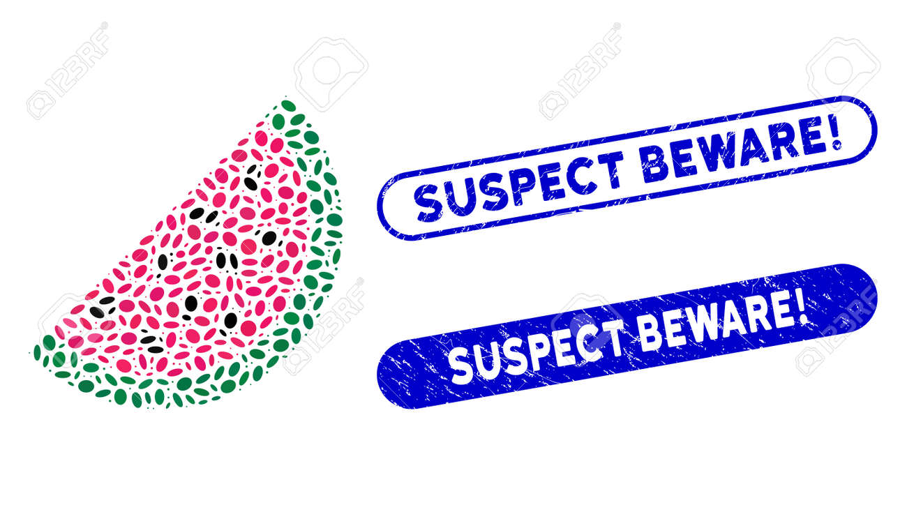 Collage watermelon piece and grunge stamp seals with Suspect Beware! caption. Mosaic vector watermelon piece is designed with scattered ellipse spots. Suspect Beware! stamp seals use blue color, - 140696184