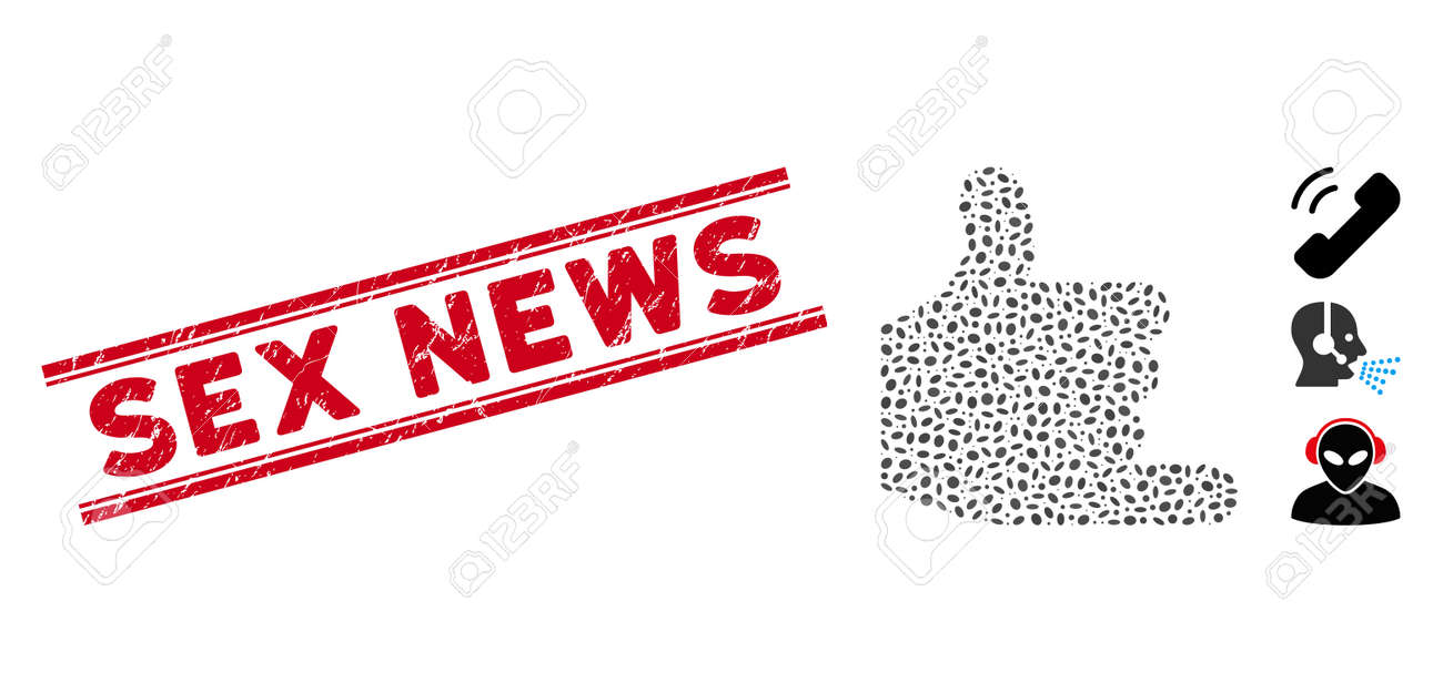 Grunge red stamp seal with Sex News phrase between double parallel lines, and mosaic call icon. Mosaic vector is formed with call icon and with random ellipse elements. Sex News stamp uses red color, - 140747752
