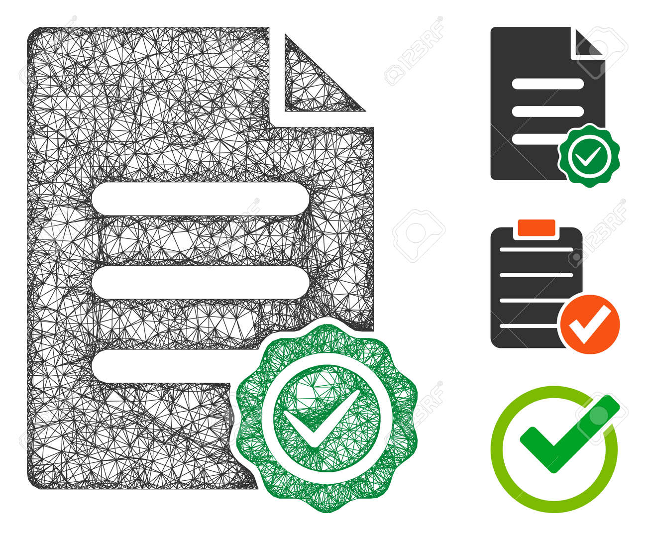 Mesh confirmation document polygonal web icon vector illustration. Carcass model is based on confirmation document flat icon. Triangular mesh forms abstract confirmation document flat model. - 146131758