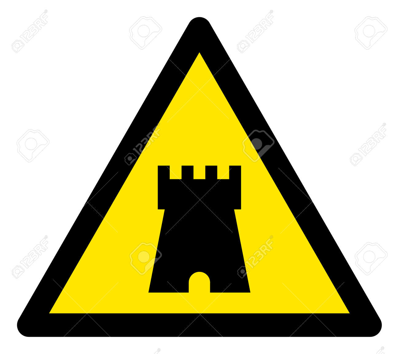 Raster bulwark tower flat warning sign. Triangle icon uses black and yellow colors. Symbol style is a flat bulwark tower attention sign on a white background. Icons designed for problem signals, - 146646047