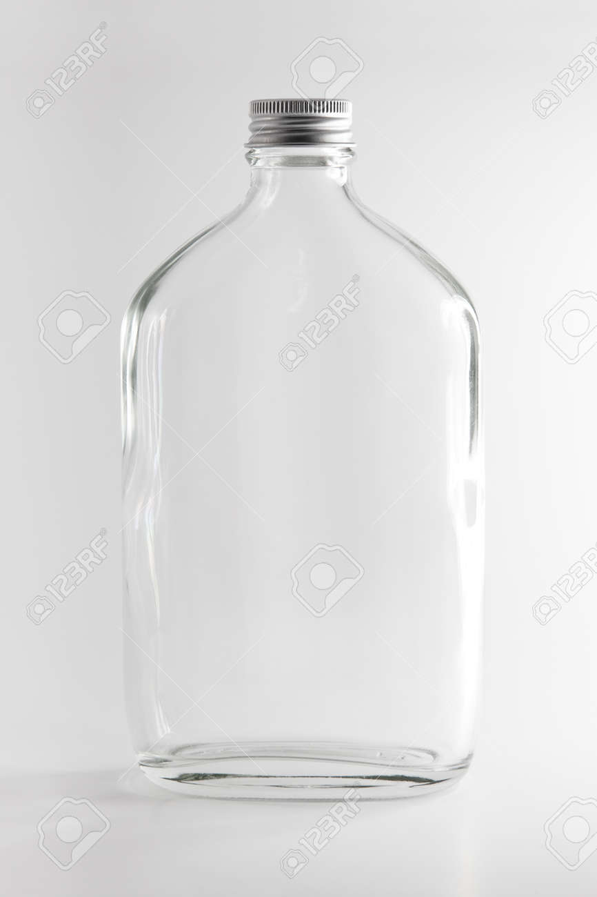 1fa3a917abfa Empty Clear Glass Bottle in white background