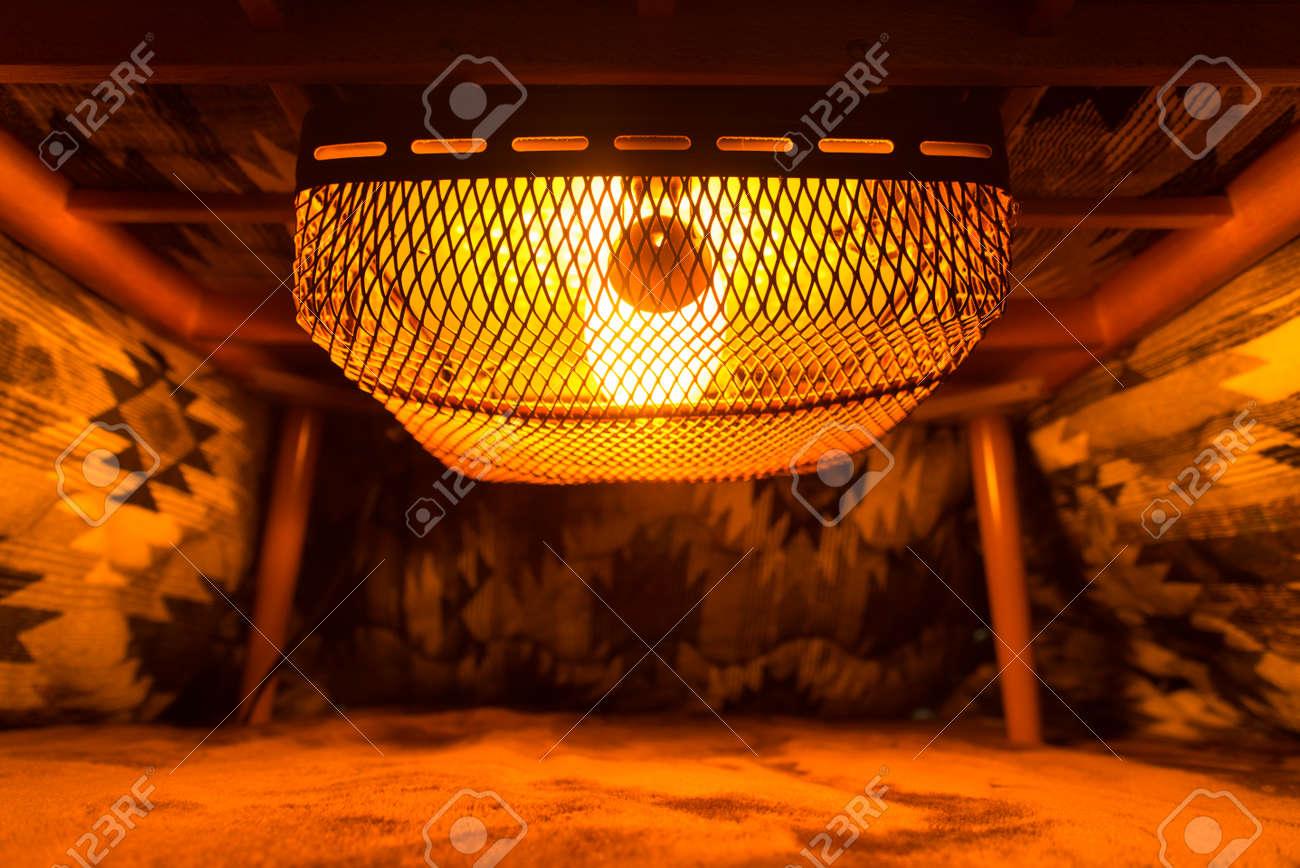 inside of japanese kotatsu table heater - 92211914