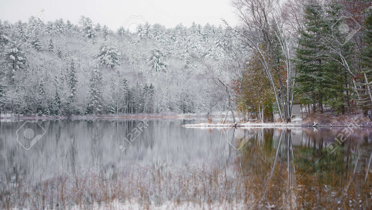 Winter Mirage On The Lake Like A Mirror Still Waters Reflect