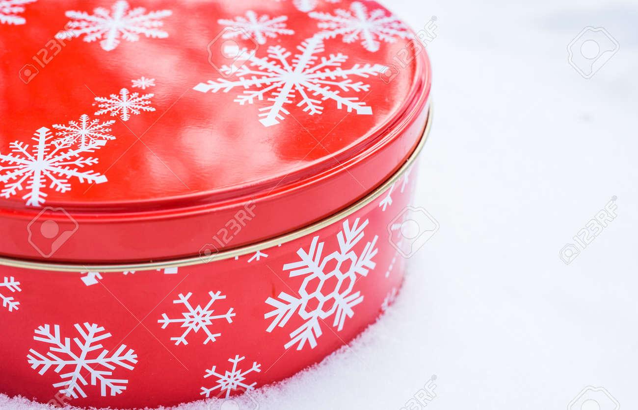 Weihnachtsgeschenk-Container. Rot, Runde Cookie & Backwaren Zinn ...