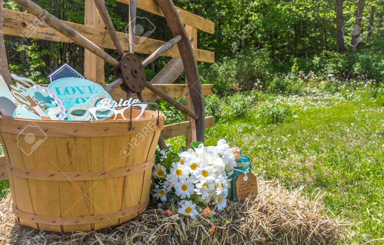 Wooden Baskets Wagon Wheels Hay Bales Daisies And A Sunny