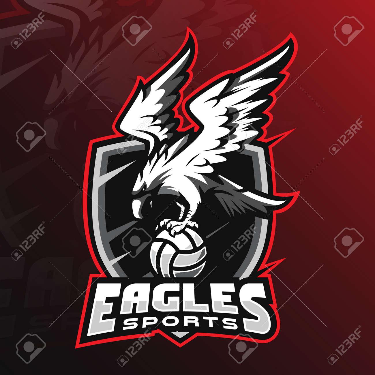 eagle vector mascot logo design with modern illustration concept