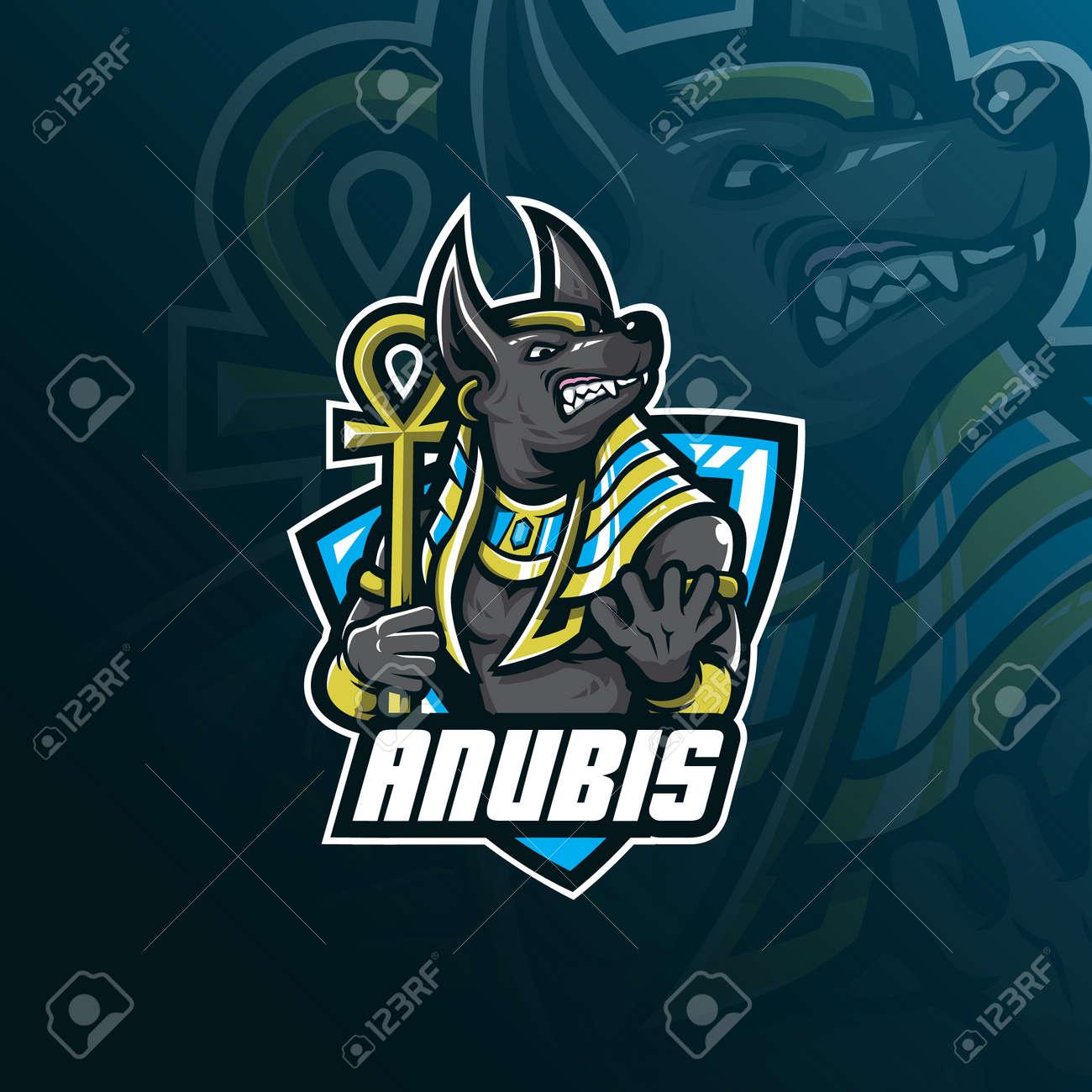 anubis vector mascot logo design with modern illustration concept