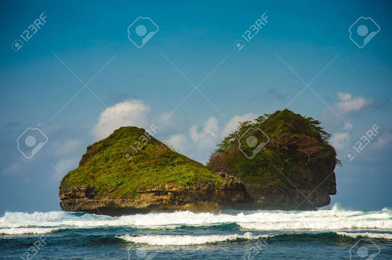 Tropical Island In The Sea Goa Cina Beach Malang East Java Stock Photo Picture And Royalty Free Image Image 136337468