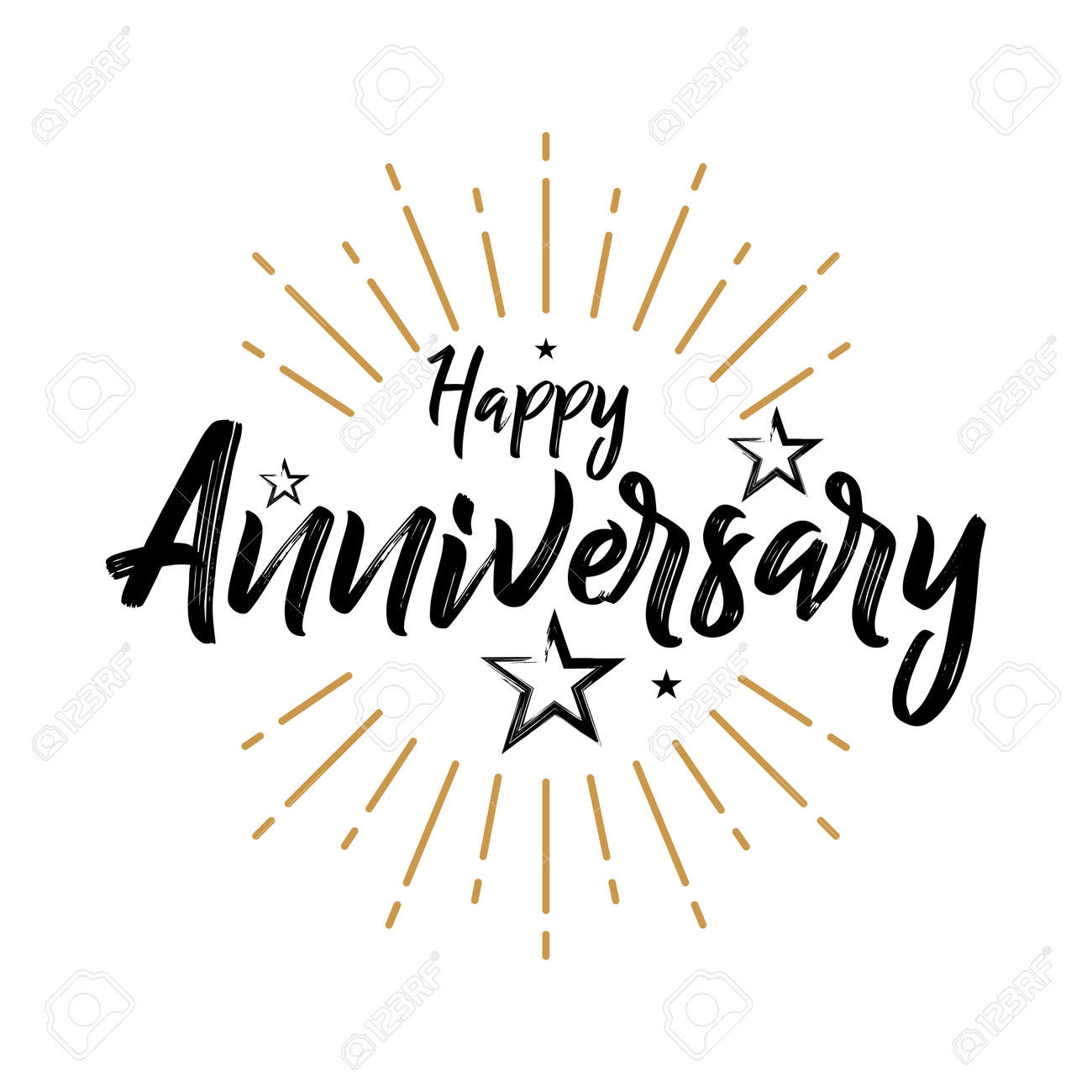 happy anniversary vintage typography grunge handwritten vector illustration brush pen lettering