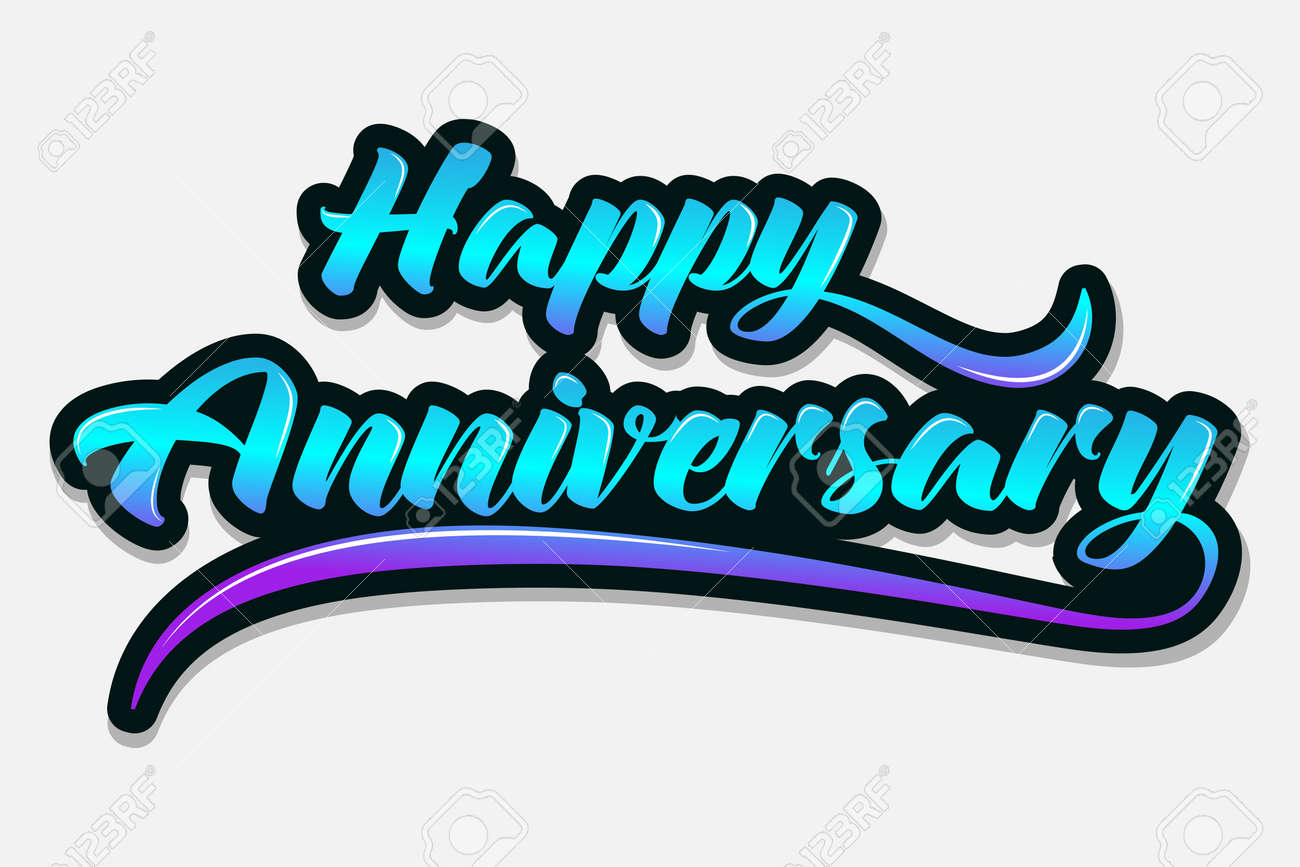happy anniversary typography handwritten vector illustration brush pen lettering for greeting stock