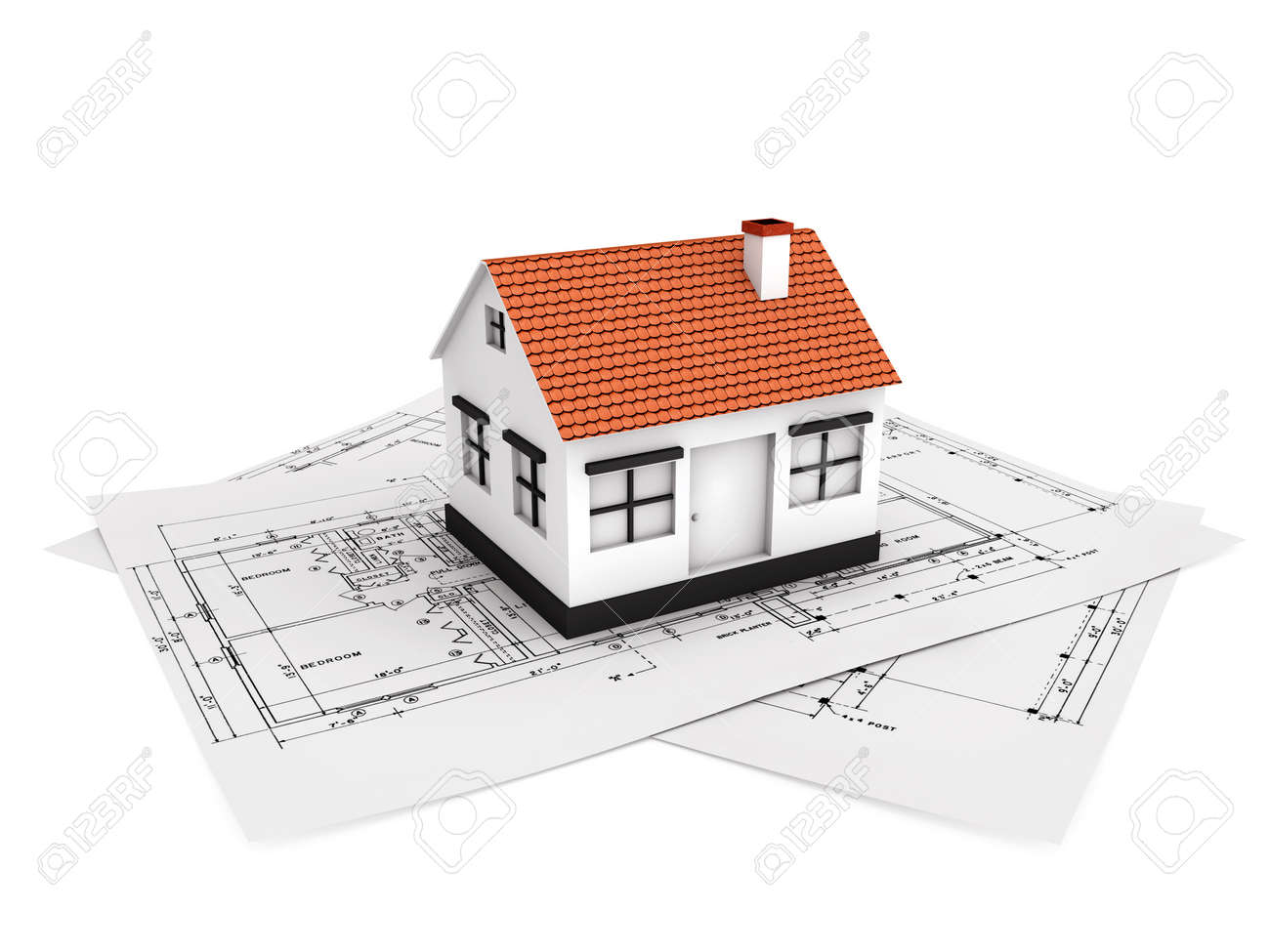 Superb Small House Model With Plan Stock Photo   14850792