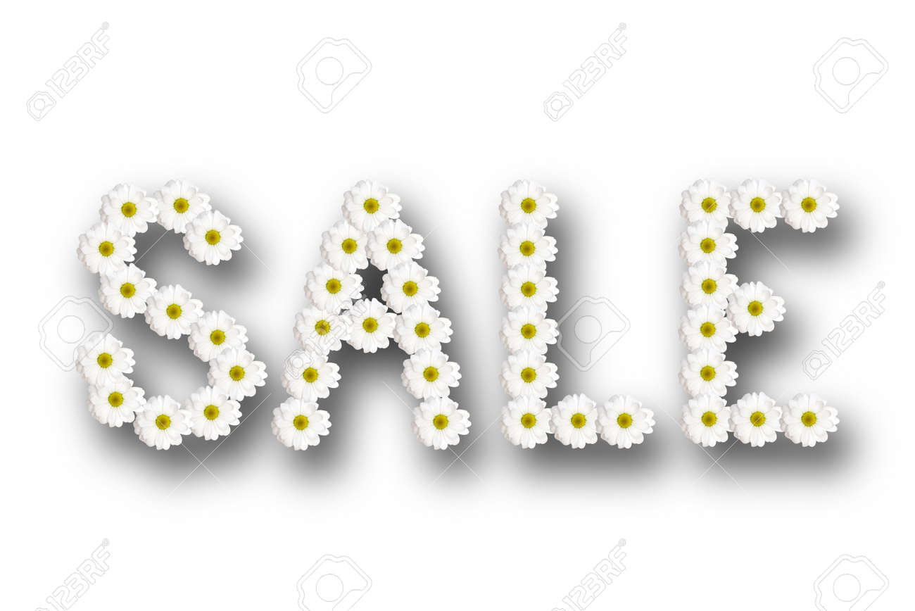 inscription sale lined with chamomile flowers with shadow on a white background - 120044553