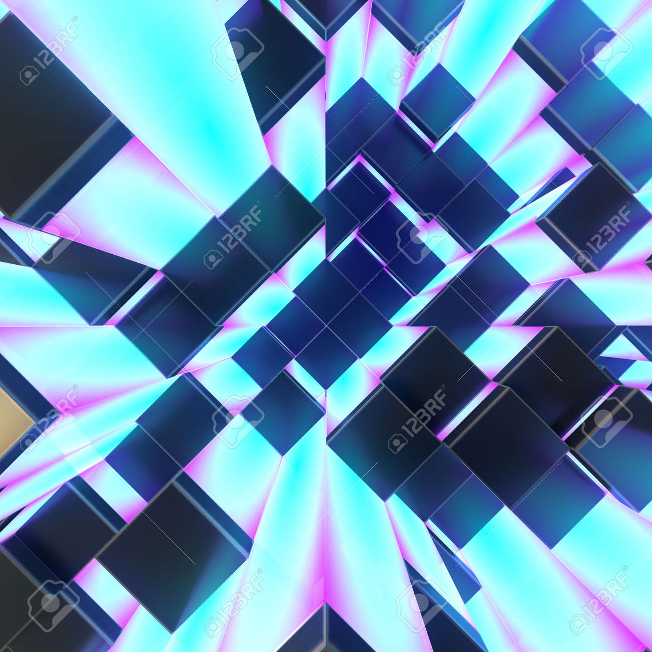 abstract yellow glowing cubes background 3d render illustration