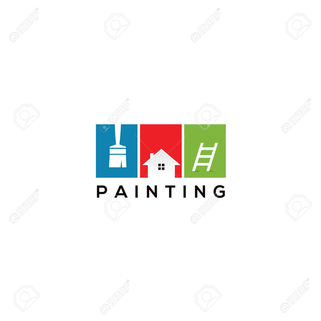 House Paint Logo Design Home Painting Service Vector Icon Construction