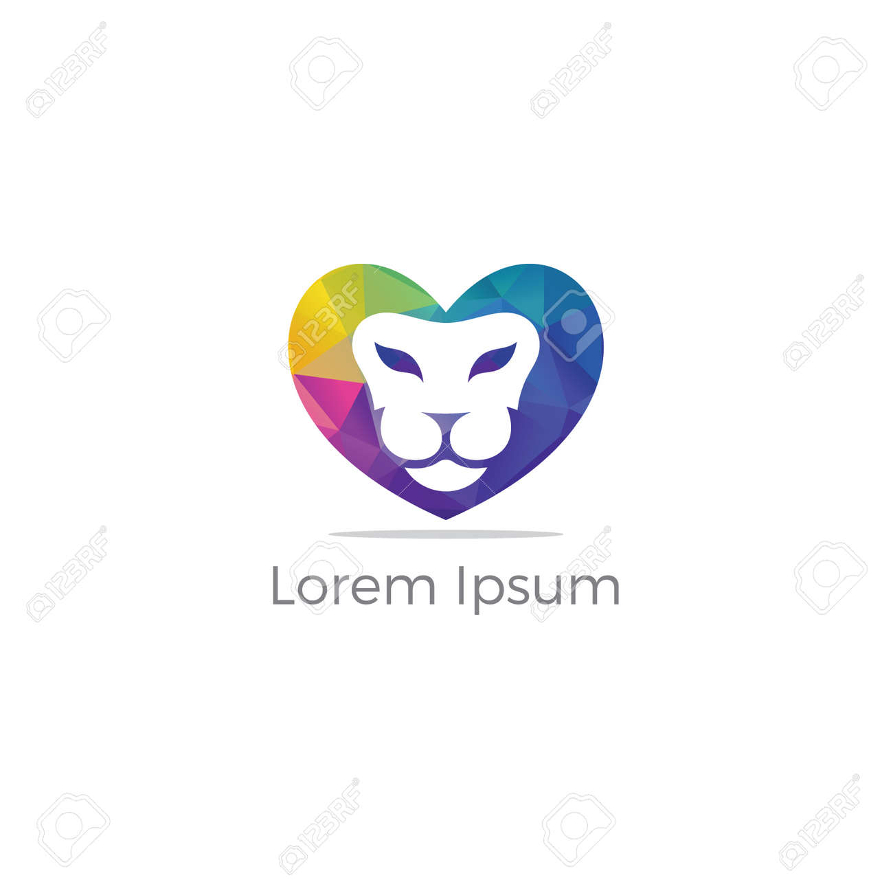 lion logo design vector illustration lion lover icon lion in heart tiger head