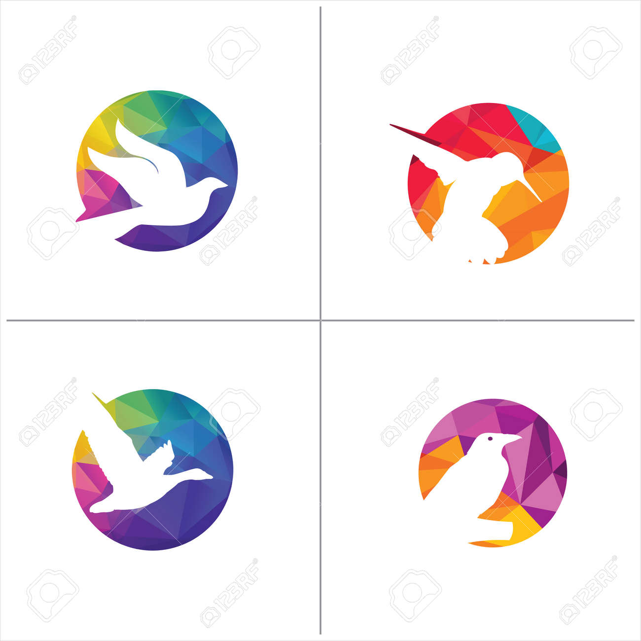 Colorful Birds Vector Logo Design Freedom Happiness Fly In