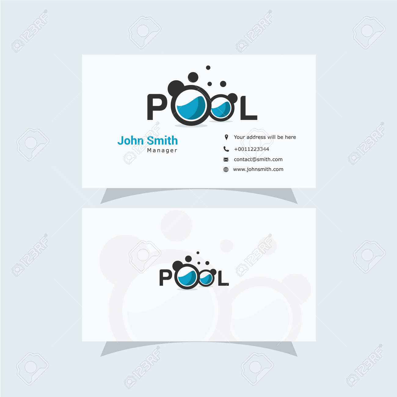 Business Card Design With Clean And Elegant Swimming Pool Logo Royalty Free Cliparts Vectors And Stock Illustration Image 134684769
