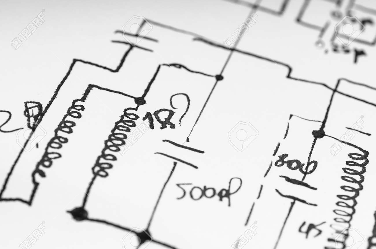 Electronic Circuit Sketch. Development Of A Device Stock Photo ...