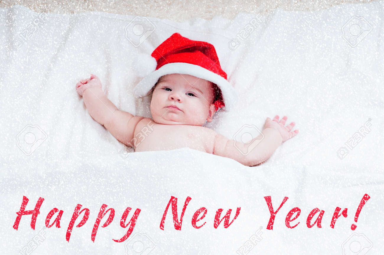 071cd6479f6c3 New Year card with babies in Santa Claus hats on a light background Stock  Photo -