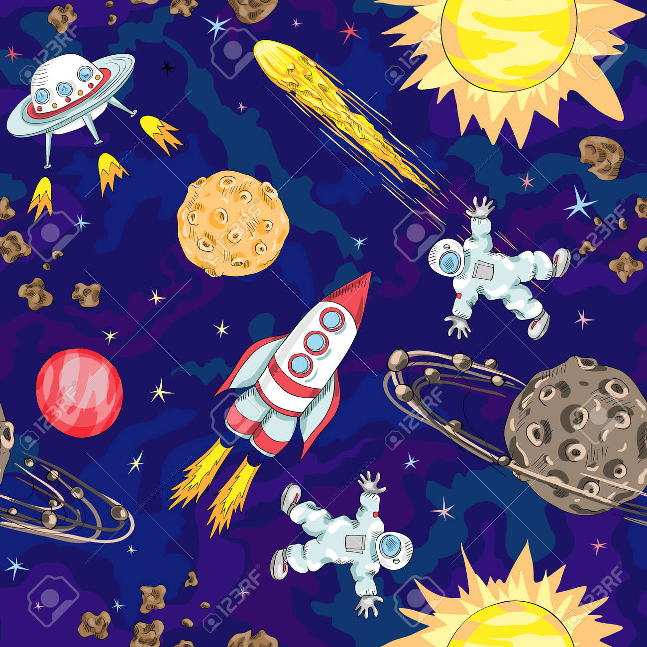 Hand Drawn Space Seamless Pattern Kids Background Stock Vector