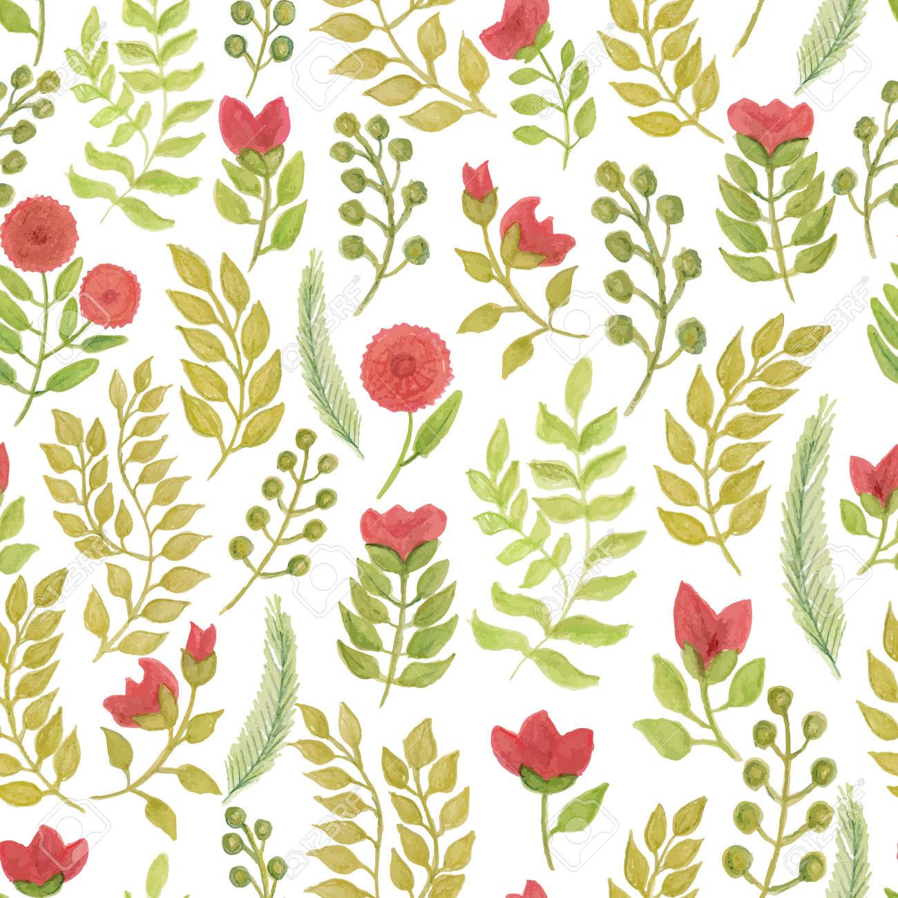 Mano Dibujar Hojas Y Flores Sin Patron Hojas Verdes Y Flores Rojas