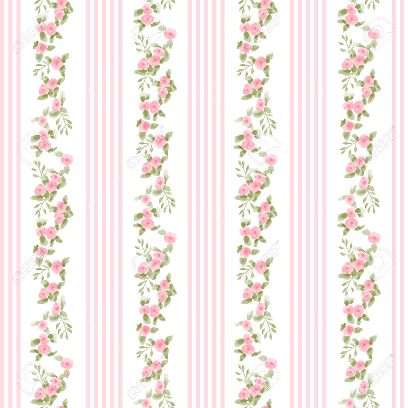 ストライプと花柄を英語 ヴィンテージの花壁紙のイラスト素材 ベクタ
