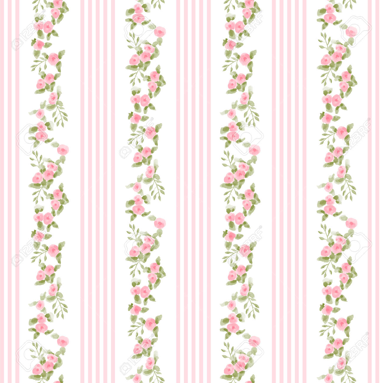English Floral Pattern With Stripes Vector Floral Vintage