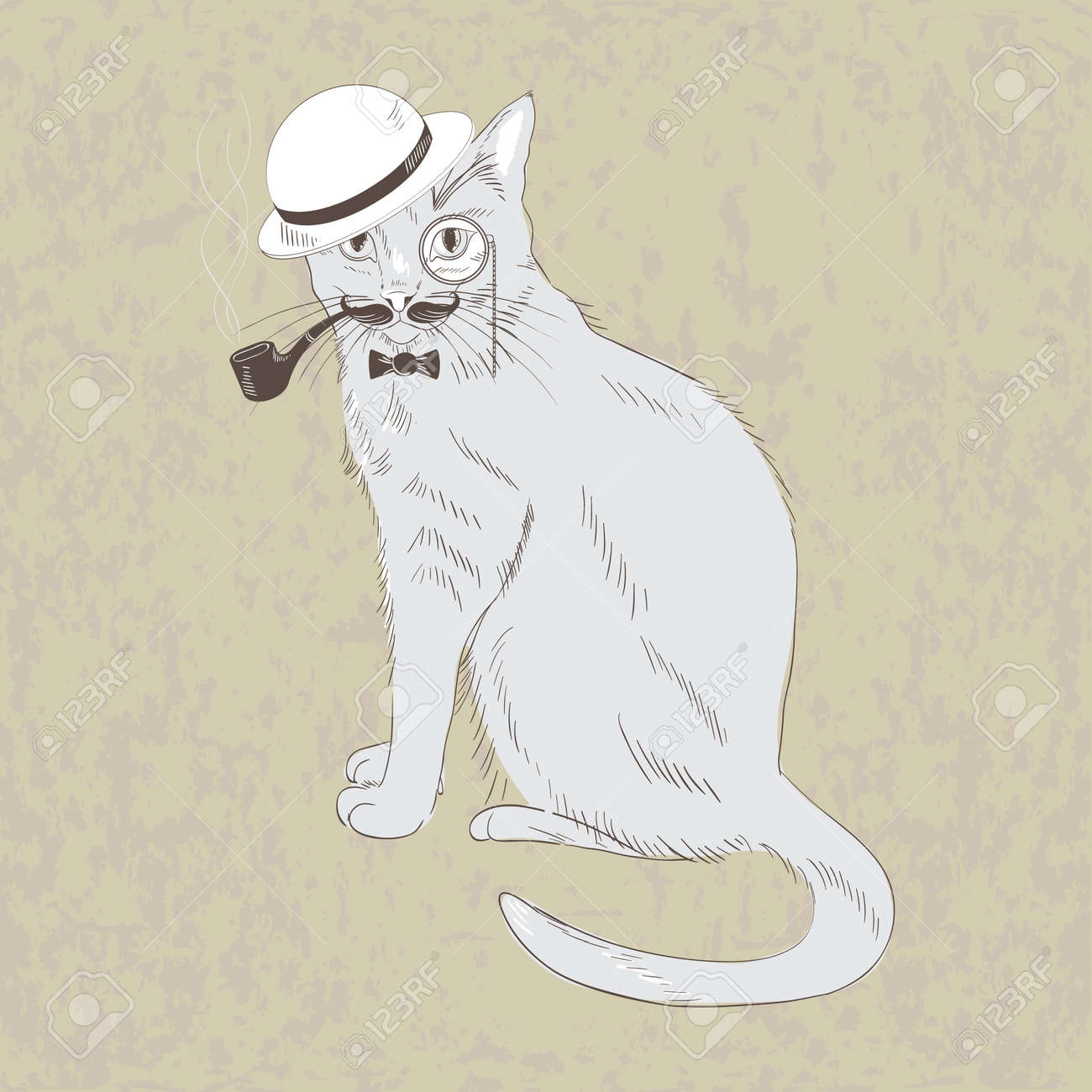 Cute Hand Drawn Gentleman Cat In Hat Bow Tie Monocle Vector Illustration Stock