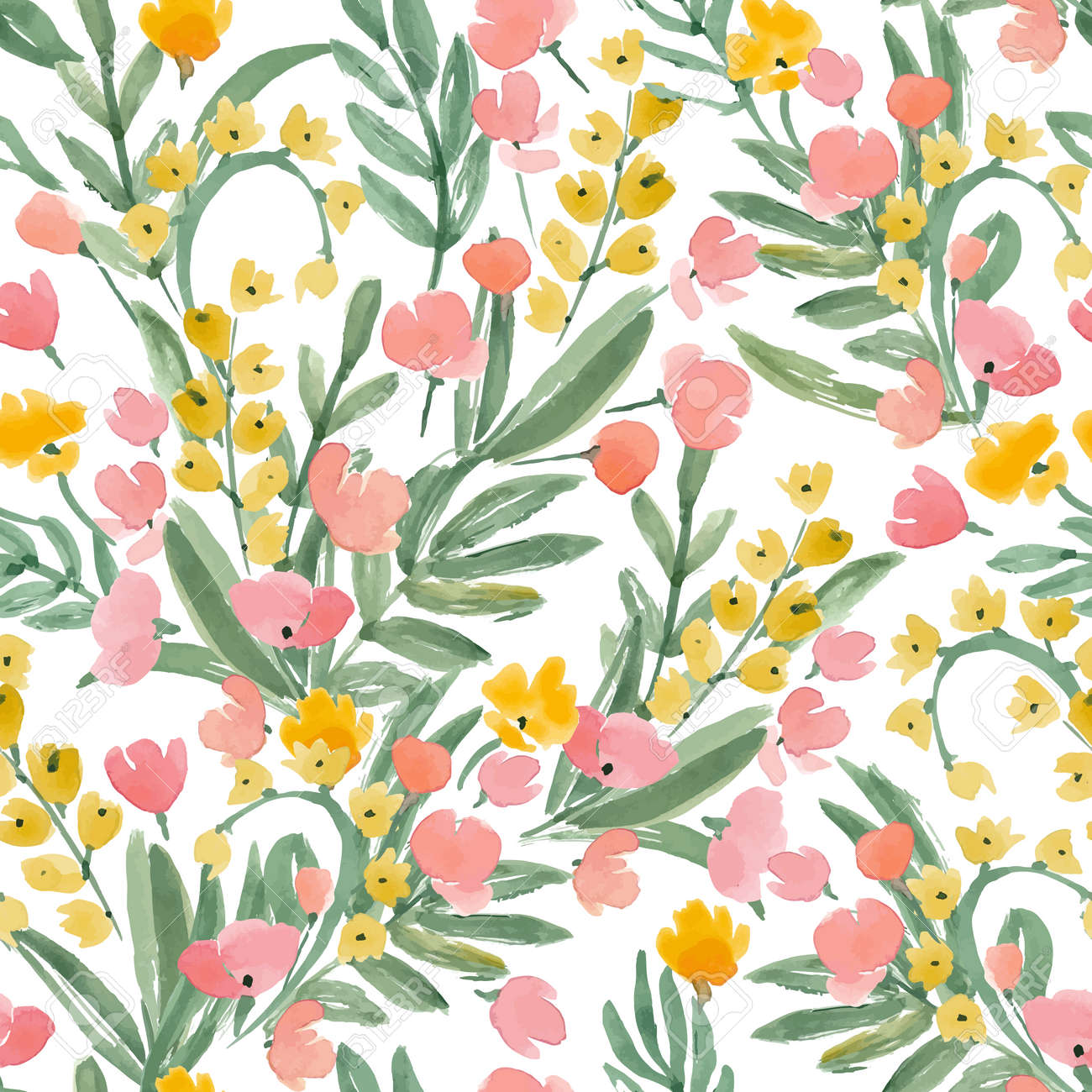 Vintage Watercolor Wallpaper Of Hand Drawn Flowers And Leaf