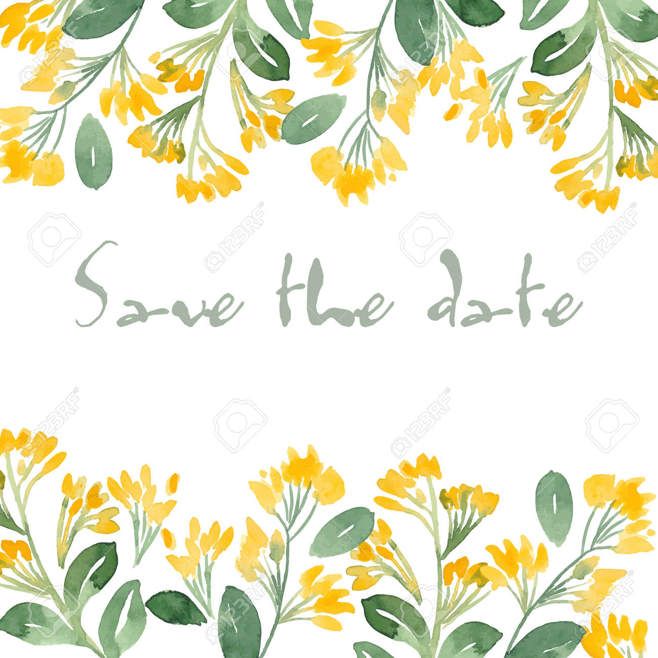 Save The Date Invitation With Watercolor Flowers. Vector Watercolor ...
