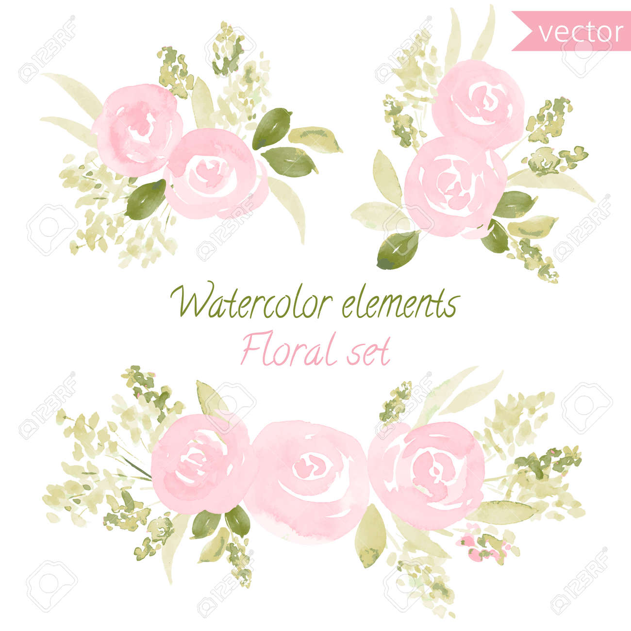 A set of watercolor roses flowers and leaf. collection with leaves and flowers, hand drawing. Can be used for design for invitation, wedding or greeting cards - 55017214